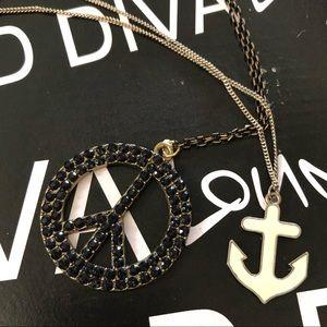 Peace Sign & Anchor Necklace Set